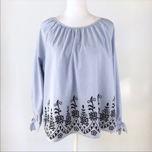 Tommy Hilfiger blue pinstripe embroidered top L